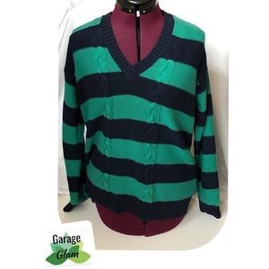 Chaps Blue/Green Striped Pullover Sweater